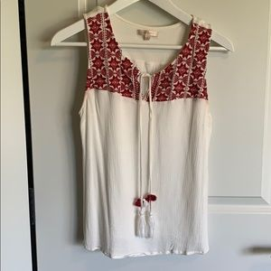 Women's White and Red tie tank